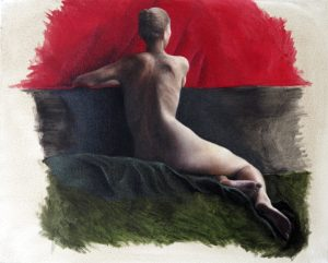 """2 Week pose (Oil on canvas 16"""" x 20"""")"""