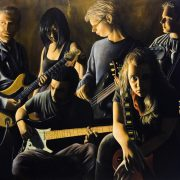 """Several species of small furry musicians chilling in a jam space on the edge of darkness (Oil on Canvas 30"""" x 40"""")"""